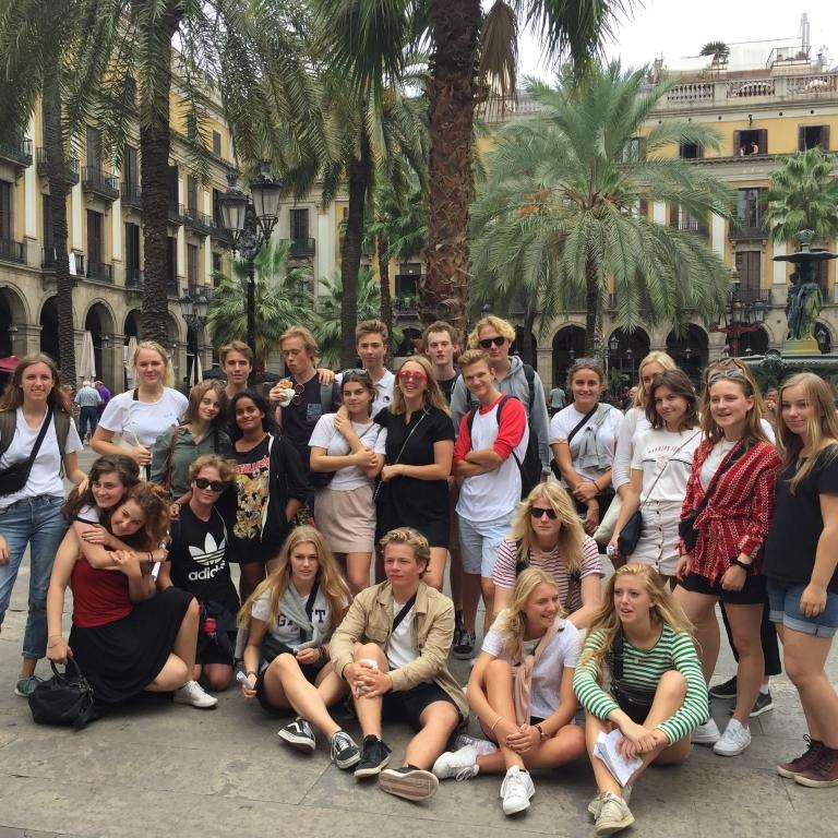 Spansk-elever på udvekslingsbesøg i Badalona.