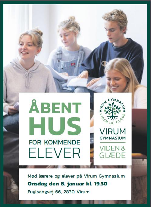 Virum Gymnasium holder Åbent Hus for kommende elever og deres forældre d. 8. januar 2020 kl. 19.30.