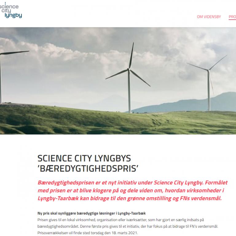Ny bæredygtighedspris i 'Netværk for grøn omstilling' - Science City Lyngby
