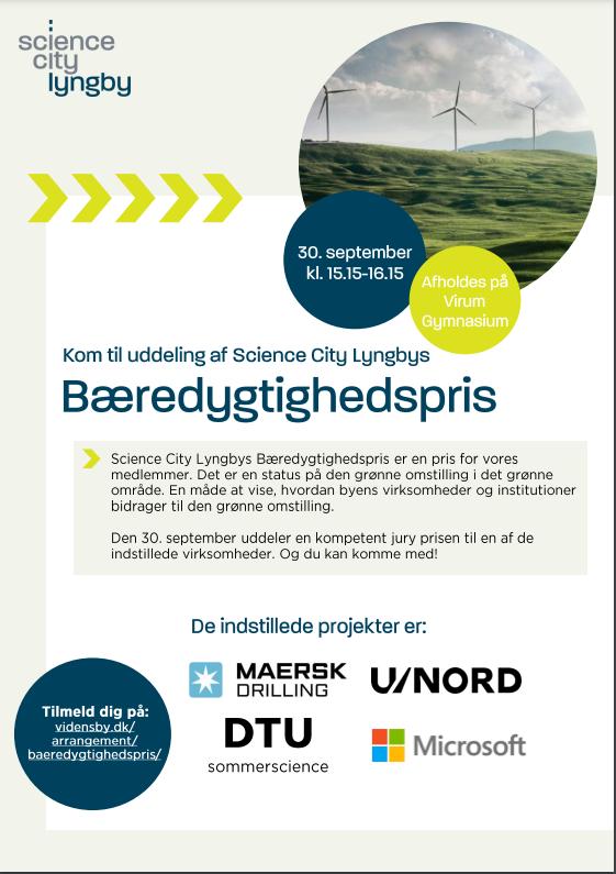 Science City Lyngbys Bæredygtighedspris, uddeles for første gang torsdag den 30. september på Virum Gymnasium.